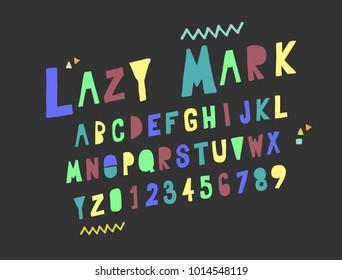 Vector set Alphabets. Cute colorful English alphabet.