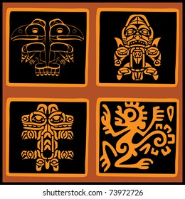 Vector set - American ethnic elements for design