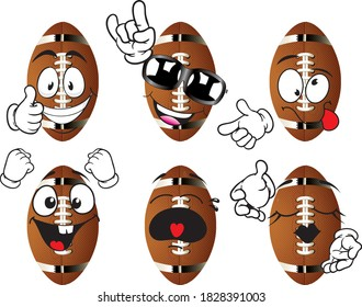 Vector set of american football balls (cartoon mascote). Perfect for printing on mugs, T-shirts, posters, flyers and more.