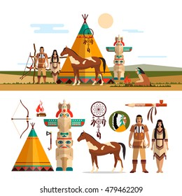 Vector set of American indian tribal objects, icons and design elements in flat style. Male and female indian, totem and fire place.