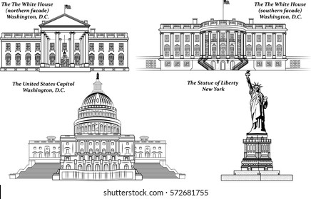 Vector set of American Landmarks: The Statue of Liberty, The United States Capitol, The White House (northern and southern facade)