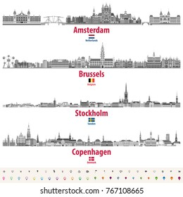 vector set of Amsterdam, Brussels, Stockholm and Copenhagen isolated city skylines in black and white color palette. Flags of Netherlands, Belgium, Sweden and Denmark. Location icons