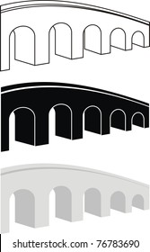 Vector set of ancient arch stone bridge black and gray silhouettes, contour - isolated cartoon illustration on white  background