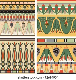 Vector set of ancient Egyptian seamless patterns