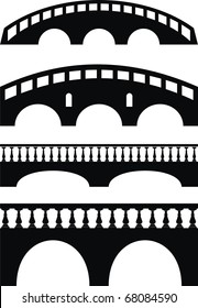 Vector set of ancient stone bridge black silhouettes - isolated illustration on white background