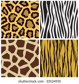 vector set of animal fur seamless pattern