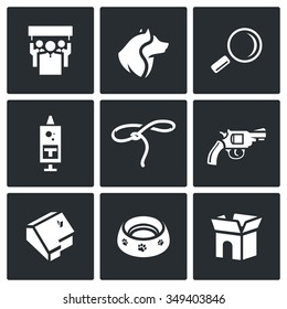 Vector Set of Animal Protection Icons. Protest, Animal, Search, Vaccination, Catching, Shooting, House, Food, Wandering. People, Dog, Magnifier, Syringe, Lasso, Gun, Building, Plate, Box