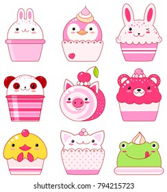 Vector set of animal shaped desserts - ice cream, cake, roll. Vanilla, chocolate, lemon, strawberry. With smiling face and pink cheeks. Chicken, panda, rabbit, frog, bear, pig, cat. For sweet design