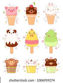 Vector set of animal shaped ice cream. Vanilla, chocolate, lemon, strawberry. In kawaii style with smiling face and pink cheeks. Chicken, monkey, rabbit, frog, bear, pig, dog. For sweet design. EPS8