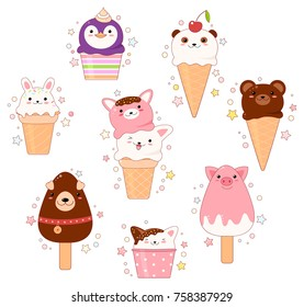Vector set of animal shaped ice cream - vanilla, chocolate, strawberry. In kawaii style with smiling faces, pink cheeks and winking eyes. Cat, rabbit, bear, penguin, dog, pig. For sweet design. EPS8