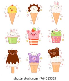 Vector set of animal shaped vanilla, chocolate, lemon, strawberry ice cream. In kawaii style with smiling face and pink cheeks. Chicken, hedgehog, rabbit, frog, bear, pig, dog. For sweet design. EPS8