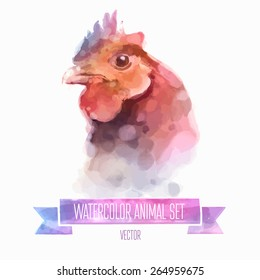 Vector set of animals. Chiken hand painted watercolor illustration isolated on white background
