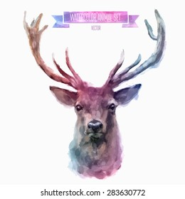 Vector set of animals. Deer hand painted watercolor illustration isolated on white background