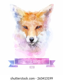 Vector set of animals. Fox hand painted watercolor illustration isolated on white background