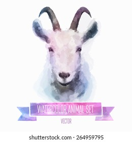 Vector set of animals. Goat hand painted watercolor illustration isolated on white background