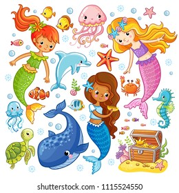 Vector set with animals and mermaids. Picture in the cartoon style.
