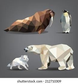 Vector set of animals of the north: bear, arctic fox, walrus, penguin