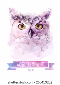 Vector set of animals. Owl hand painted watercolor illustration isolated on white background