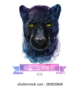 Vector set of animals. Panther hand painted watercolor illustration isolated on white background