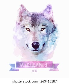 Vector set of animals. Wolf hand painted watercolor illustration isolated on white background