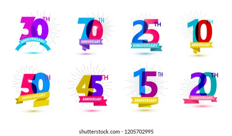 Vector set of anniversary dates compositions with ribbons, years birthday logo labels. Isolated. 10, 70, 25, 50, 45, 15, 20, 30