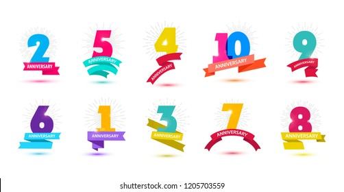 Vector set of anniversary dates compositions with ribbons, years birthday logo labels. Isolated. 1, 2, 3, 4, 5, 6, 7, 8, 9, 10