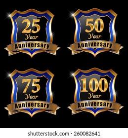 Vector set of anniversary elements, 50, 25, 100 , 75, year anniversary badge - eps 10