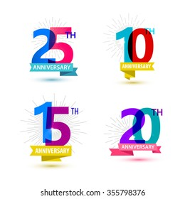 Vector set of anniversary numbers design. 25, 10, 15, 20 icons, compositions with ribbons. Colorful, transparent with shadows on white background isolated. Anniversary dates, anniversary numbers