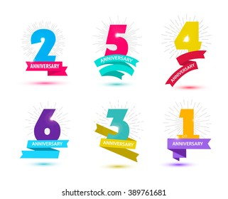 Vector set of anniversary numbers design. 1, 2, 3, 4, 5, 6 icons, compositions with ribbons. Colorful, transparent with shadows on white background isolated. Anniversary logos, anniversary design