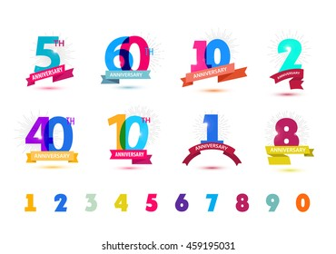 Vector set of anniversary numbers design. 5, 60, 10, 2, 40, 1, 8 icons, compositions with ribbons. Colorful, transparent with shadows on white background isolated. Anniversary logos