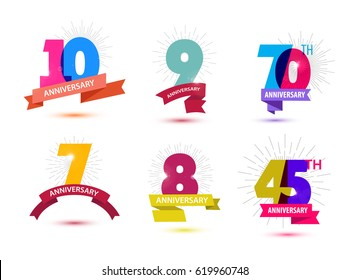 Vector set of anniversary numbers design. 10, 9, 70, 7, 8, 45 icons, compositions with ribbons. Colorful, transparent with shadows on white background isolated. Anniversary logos, anniversary design