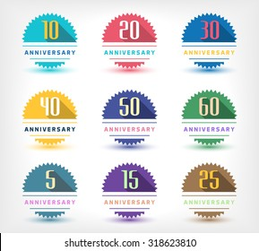 Vector set of anniversary signs, symbols. Five, ten, fifteen, twenty, thirty, forty, fifty years jubilee design elements collection.