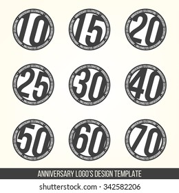 Vector set of anniversary signs, symbols. Ten, fifteen, twenty, thirty, forty, fifty, sixty, seventy years jubilee design elements collection.