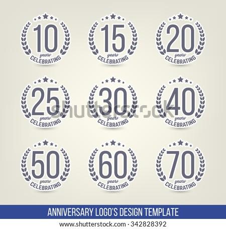 Vector Set Anniversary Signs Symbols Ten Stock Vector Royalty Free