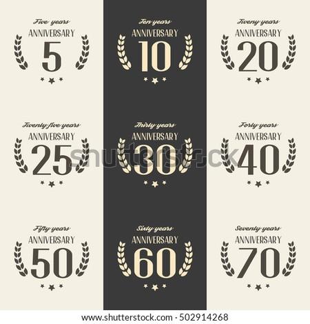 Vector Set Anniversary Symbols 5th 10th Stock Vector Royalty Free