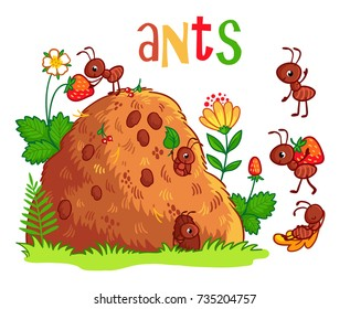 Vector set with an anthill and ants. Insects in the cartoon style.
