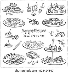 Vector set with appetizers hand drawn doodles. Illustration for menus, recipes and packages product