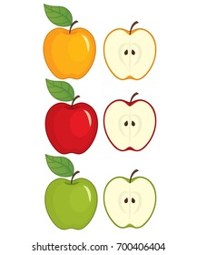 Vector set of apples. Vector whole apple and half of apple. Apples vector illustration