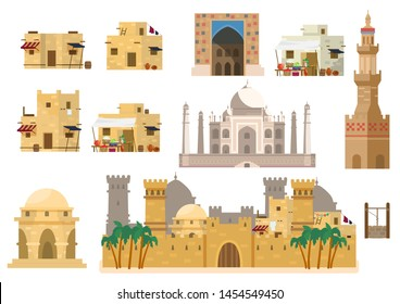 Vector set of arabic architecture. Houses, Taj Mahal, rotunda, castle, towers, market building, gates, well. Mud brick buildings. Flat style.