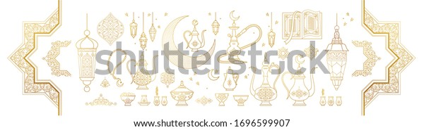 Vector set with arabic elements for Ramadan Greetings, Iftar Party  invitation. Arabic hookah, coffee pot, crescent, Eastern lanterns for Iftar, Eid Al-Fitr decoration. Muslim feast of Ramadan month.