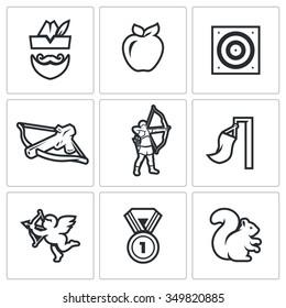 Vector Set of Archery Icons. Robin Hood, Apple, Target, Crossbow, Shooter, Wind, Amur, Medal, Squirrel. Man, Fruit, Shooting, Arms, Athlete, Flag, Cupid, Award, Animal