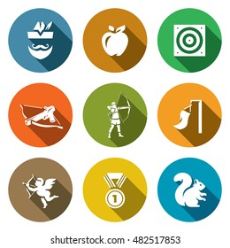 Vector Set of Archery Icons. Robin Hood, Apple, Target, Crossbow, Shooter, Wind, Amur, Medal, Squirrel.