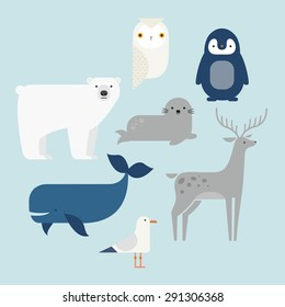 Vector set Arctic and Antarctic animals. Penguin, polar bear, seal, reindeer, whale, snowy owl, albatross. Flat style character illustration