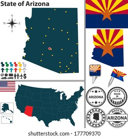 Vector set of Arizona state with flag and icons on white background