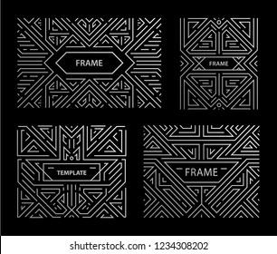 Vector set of art deco frames, adges, abstract geometric design templates for luxury products. Linear ornament compositions, vintage. Use for packaging, branding, decoration, etc. Square, silver