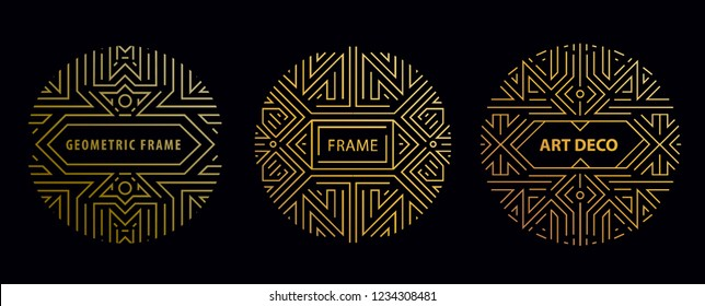 Vector set of art deco frames, adges, abstract geometric design templates for luxury products. Linear ornament compositions, vintage. Use for packaging, branding, decoration, etc. Golden circles