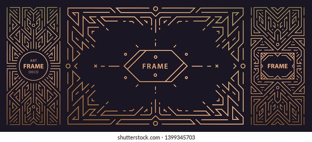 Vector set of art deco frames, adges, abstract geometric design templates for luxury products. Linear ornament compositions, vintage. Use for packaging, branding, decoration, etc. Golden