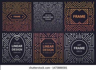 Vector set of art deco frames, adges, abstract geometric design templates for luxury products. Linear ornament compositions, vintage. Use for packaging, branding, decoration, etc. Square
