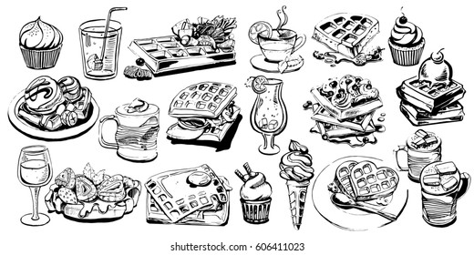 Vector set art with foods and drinks. Vector  menu with the best Belgian waffles.