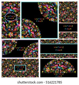 Vector set of artistic creative business cards with black Floral Mexican embroidery pattern and ornaments. Hand Drawn textures. Applicable for wedding, anniversary, birthday, Valentine day, party.